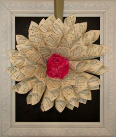 Wreath w-Roses hymnal wreath tutorial. This is really neat - and she makes it look easy!