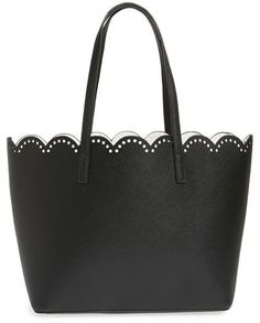 Junior Women's BP. Scalloped Faux Leather Tote - Black - $48.00