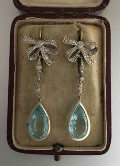 A Magnificent Pair Of Diamond & Aquamarine Earrings Circa 1900's