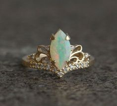 Vintage Marquise Opal Engagement Ring, Solid Gold Ethiopian Opal Marquise Ring, Art Deco Ring, Capucinne Jewelry, Fire Opal Ring