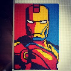 Iron Man Marvel perler art by abbrazyf