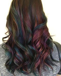 """Another oil slick! Thanks for letting me play Theresita! #pravana #oilslick #hairbynadine #yqr #yqrhairsalon"""