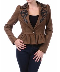 Cozy up to this ultra-chic blazer for a lovely layer that's both functional and fashionable. Boasting a polished silhouette with beautifully embroidered lapels, subtly puffed sleeves and a pretty peplum detail, this bold blazer is a stylish pick. 80% polyester / 20% woolHand wash; dry flatImported