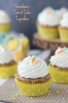 Grandma's Best Ever Carrot Cake Cupcake- super moist and topped with whipped cream cheese frosting. Homemade Carrot Cake, Moist Carrot Cakes, Carrot Cake Cupcakes, Cupcake Cakes, Cup Cakes, Whipped Cream Cheese Frosting, Strawberry Pretzel Salad, Baking Cups, Baking Flour