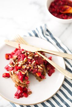 Banana & almond pancakes with raspberry pear compote