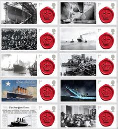 The ten stamps are being released on April 10 to mark the 100th anniversary of the Titanic's launch.
