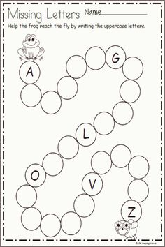 Free letter writing worksheet for preschool and kindergarten. Write the missing letters along the path of circles to help frog reach the fly. This page is a sample from my Spring Math and Literacy Packet: Spring Math and Literacy Packet for Kindergarten Letter Writing Worksheets, English Worksheets For Kindergarten, Nursery Worksheets, Printable Preschool Worksheets, Preschool Writing, Preschool Learning Activities, In Kindergarten, Tracing Letters, Frogs Preschool
