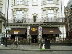 The Hard Rock Cafe.  London, England.  The Hard Rock's Flagship Store! Carve your name on the loo door!