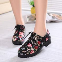>> Click to Buy << Women Floral Lace up Pumps 2015 Casual Shoes Harajuku Thick-soled Low Heels Platform Shoes Female Creepers Shoe  Mujeres bombas #Affiliate