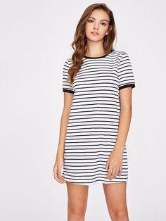 Shein Striped Ringer Tee Dress Abiti Vestito 925cef1894e