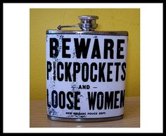 Beware pickpockets flask retro vintage new orleans rockabilly pin up flask, $18.95