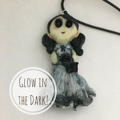 Glow in The Dark Creepy Girl Necklace // Halloween Jewelry // Gothic Doll // Ghost // Goth // Chibi Polymer Clay by PolkaDotPearlMinis on Etsy