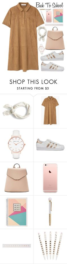 """""""BackToSchool"""" by orrinn ❤ liked on Polyvore featuring J.Crew, MANGO, Abbott Lyon, adidas, The Pink Orange and Kate Spade"""