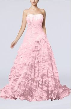 Baby Pink Bridal Gown - Gorgeous Garden A-line Sleeveless Lace up Chapel Train