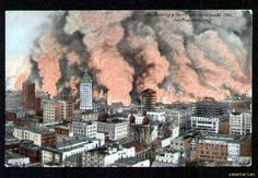 Vintage color postcard showing the city of San Francisco California on fire after the famous earthquake of 1906.