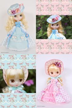 """This year, 2015 anniversary dolls are the CWC Limited Anniversary Neo Blythe """"Dauphine Dream"""" and CWC Limited Anniversary Middie Blythe """"Little Duchess Georgette"""". Blythe Dolls, Disney Characters, Fictional Characters, Barbie, Anniversary, Disney Princess, Artwork, Tomy, Work Of Art"""