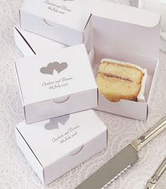 Personalized/Monogrammed To-Go Boxes for Wedding Cake Makes a Great and Inexpensive Favor and Prevents Cake from Going to Waste #Favor #Wedding #Cake