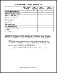 Response to Intervention: The Ultimate Social Skills Checklist ...