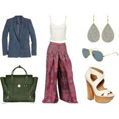 #fashion ysl pants / acne denim blazer / topshop top / l.a.m.b shoes / 3.1 phillip lim bag / irene neurwirth earrings / ray-ban aviators
