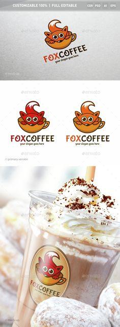 Fox Coffee Logo Template,animals logo, ape logo, cafe, capuccino, cartoon, character logo, children, coffee, creative studio, creativity, delivery, fox logo, fun, games, gaming, geek, joyful, kids, marketing, media, multimedia, red, social business, toys shop logo, video game studio