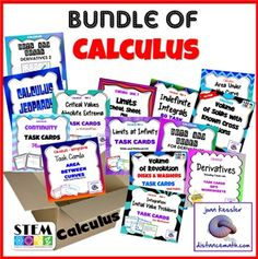 Back to School with Calculus!    Just for you!  I have bundled 14  of my most popular Calculus  activities and resources together to keep your students engaged,  having fun, and on track, and additionally to make your lesson and assessment planning easier.