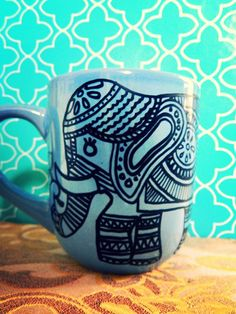 Coffee Mug ELEGANT ELEPHANT Lotus flower Hand drawn by WholeWildWorld, $14.00 blue. bohemian. boho. india
