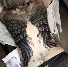 d565eafec3759 Full Back Wing Tattoos For Girls 4 unique angel wings tattoos for ... Cross