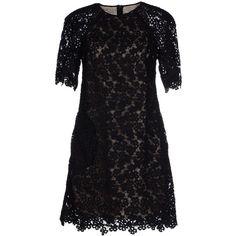 Erdem Short Dress (€835) ❤ liked on Polyvore featuring dresses, black, zipper dress, lace dress, lacy black dress, short black dresses and lace mini dress