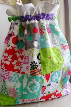 Skipper's Creative Expressions: Santa Sack (Handmade Christmas 2014) - instead of stockings this child will have a gorgeous patchwork sack for gifts #sewing #Christmas #kids