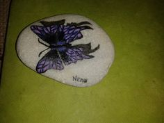 hand-painted stone, my butterfly no.1