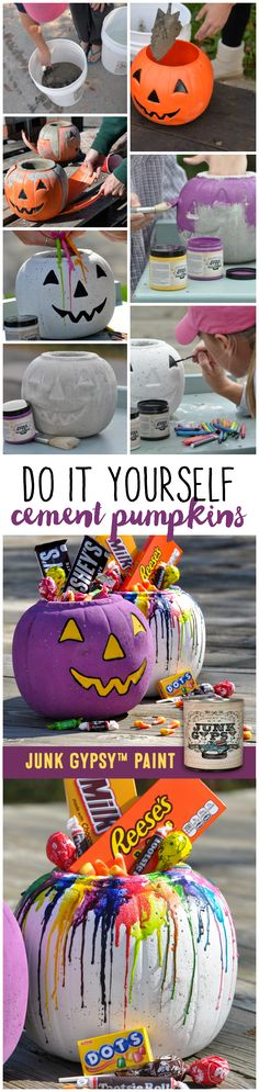 DIY cement pumpkins and Junk Gypsy™ Paint