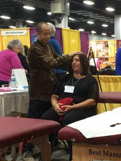 Dr Ming Wu providing healing treatments (Tui Na)
