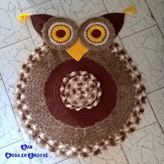 Tapete Coruja em Crochê - Rug Crochet Owl - Divitae