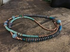 Long boho necklace, ethnic jewelry, tribal necklace , beaded necklace, blue patina, copper and glass beads by Omanie on Etsy