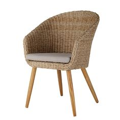 Garden chair in resin wicker and solid acacia Kuta Round Wicker Chair, Balcony Chairs, Balcony Furniture, Outdoor Wicker Furniture, Cafe Chairs, Garden Chairs, Outdoor Cushions, Outdoor Chairs, Kuta