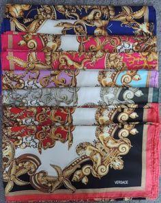 Versace-Designer-Silk-Scarf-Multiple-Colors-2-Choose-From-Multi-Color-Scroll