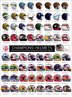 A nice illustration depicting Formula 1 World Drivers champions helmet designs from 1950 - This picture was found by Racing Helmets, F1 Racing, Motorcycle Helmets, Drag Racing, Grand Prix, F1 Wallpaper Hd, Aryton Senna, Gp F1, F1 2017
