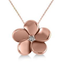 Allurez Diamond Flower Charm Pendant Necklace 14k Rose Gold (0.03ct) ($440) ❤ liked on Polyvore featuring jewelry, necklaces, charm necklaces, 14k charms, rose gold diamond necklace, rose gold charms and diamond jewelry