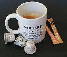 ARE YOU HANGRY? - funny foodie tea or coffee mug (original white coffee mug with black definition) suitable for gift.
