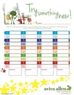 Encourage your kids to try new foods with colourful reward chart. Visit pinterest.com/arktherapeutic for more #pickyeater #feedingtherapy ideas