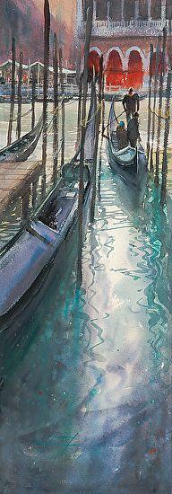 Traghetti, Venice, Italy I by Keiko Tanabe Watercolor ~ 29 x 10 inches (74 x 25 cm)
