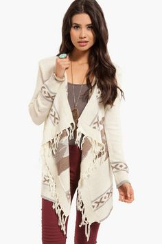 Aztec Fringe Cardigan. All I can think about is this and a warm fireplace.