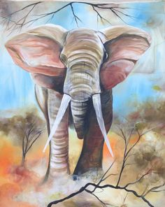 Master elephant - This spectacular painting of a bull elephant charging is by Ugandan artist, Davis Muwumba.