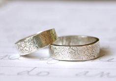 recycled silver wedding band ring set . happily ever after . rustic wedding rings by peacesofindigo on Etsy, $268.00