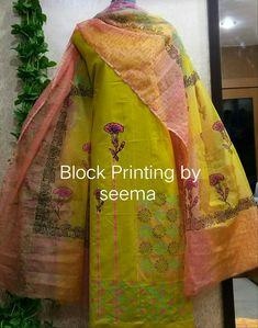 Punjabi Salwar Suits, Salwar Kameez, Kurti, I Love Fashion, Women's Fashion, Block Painting, Ethnic Outfits, Block Dress, Indian Suits
