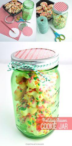 Easy Holiday Mason Cookie Jar Gift Idea