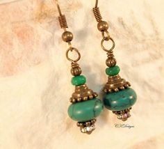 Magnesite Turquoise Earrings Turquoise and Brass by CKDesignsUS