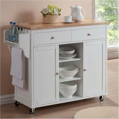 Cute Portable Kitchen Cabinets for Small Apartments – goodworksfurniture White Kitchen Cart, Kitchen Island On Wheels, Rustic Kitchen Island, Kitchen Island Decor, Kitchen Tops, Kitchen Islands, Kitchen Carts, Portable Kitchen Cabinets, Ikea Kitchen