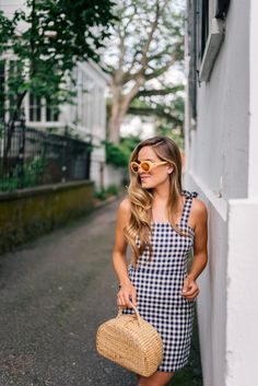 Gal Meets Glam Gingham Mini Dress Express dress c/o, Yellow sunglasses and Sea & Grass bag