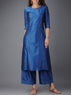 Blue Round Neck Chanderi Kurta